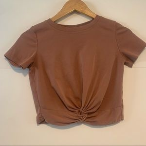 Crop Twist Front Tee Shirt